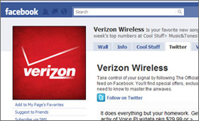 Verizon Wireless: Facebook Twitter Tab